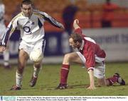 17 November 2003; Andy Meyler, Drogheda United, in action against Tony McCarthy, Shelbourne. eircom league Premier Division, Shelbourne v Drogheda United, Tolka Park, Dublin. Picture credit; Damien Eagers / SPORTSFILE *EDI*