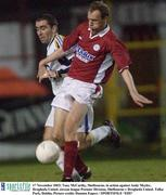 17 November 2003; Tony McCarthy, Shelbourne, in action against Andy Meyler, Drogheda United. eircom league Premier Division, Shelbourne v Drogheda United, Tolka Park, Dublin. Picture credit; Damien Eagers / SPORTSFILE *EDI*