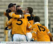 23 November 2003; St. Galls players, l to r, Paddy Murray, Darren O'Hare, Michael Culbert, Andrew McClean and Ciaran McGourty celebrate at the end of the game after victory over Four Masters. AIB Ulster Club Football Championship Semi-Final, Four Masters v St. Galls, St. Tighearnach's Park, Clones, Co. Monaghan. Picture credit; David Maher / SPORTSFILE *EDI*