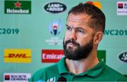 26 September 2019; Defence coach Andy Farrell during an Ireland Rugby press conference at the Yumeria Sports Grounds in Iwata, Shizuoka Prefecture, Japan. Photo by Brendan Moran/Sportsfile