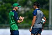 26 September 2019; Head coach Joe Schmidt with Joey Carbery during Ireland Rugby squad training at the Yumeria Sports Grounds in Iwata, Shizuoka Prefecture, Japan. Photo by Brendan Moran/Sportsfile