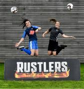 26 September 2019; In attendance are Niamh Farrelly of DCU, left, and Eleanor Ryan Doyle of TU Dublin during the RUSTLERS Third Level Football Launch at Campus Conference Centre, in FAI HQ, Dublin. Photo by David Fitzgerald/Sportsfile