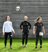26 September 2019; Women's National Team Manager Vera Pauw with Niamh Farrelly of DCU, left, and Eleanor Ryan Doyle of TU Dublin during the RUSTLERS Third Level Football Launch at Campus Conference Centre, in FAI HQ, Dublin. Photo by David Fitzgerald/Sportsfile
