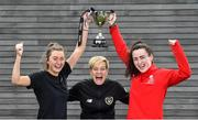26 September 2019; Women's National Team manager Vera Pauw with Danielle Burke of CIT, left, and Ciara McNamara UCC during the RUSTLERS Third Level Football Launch at Campus Conference Centre, in FAI HQ, Dublin. Photo by David Fitzgerald/Sportsfile