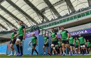 27 September 2019; Ireland players, including from left, Dave Kilcoyne, James Ryan, Rory Best, Jordan Larmour, Jean Kleyn, Andrew Porter, Niall Scannell, Chris Farrell, Joey Carbery, CJ Stander and Conor Murray make their way onto the pitch prior to their captain's run at the Shizuoka Stadium Ecopa in Fukuroi, Shizuoka Prefecture, Japan. Photo by Brendan Moran/Sportsfile