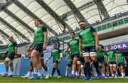 27 September 2019; Ireland players, including from left, Rhys Ruddock, Chris Farrell, Tadhg Furlong, Joey Carbery, CJ Stander, Josh van der Flier and Conor Murray make their way onto the pitch prior to their captain's run at the Shizuoka Stadium Ecopa in Fukuroi, Shizuoka Prefecture, Japan. Photo by Brendan Moran/Sportsfile