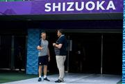 27 September 2019; Head coach Joe Schmidt in conversation with Rugby World Cup Match Commissioner Mark Harrington during the Ireland Rugby captain's run at the Shizuoka Stadium Ecopa in Fukuroi, Shizuoka Prefecture, Japan. Photo by Brendan Moran/Sportsfile