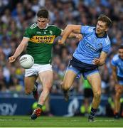 14 September 2019; Seán O'Shea of Kerry in action against Michael Fitzsimons of Dublin during the GAA Football All-Ireland Senior Championship Final Replay match between Dublin and Kerry at Croke Park in Dublin. Photo by Ray McManus/Sportsfile