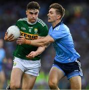 14 September 2019; Seán O'Shea of Kerry is tackled by Michael Fitzsimons of Dublin during the GAA Football All-Ireland Senior Championship Final Replay match between Dublin and Kerry at Croke Park in Dublin. Photo by Ray McManus/Sportsfile