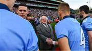 14 September 2019; President Michael D. Higgins shakes hands with Jonny Cooper of Dublin before the GAA Football All-Ireland Senior Championship Final Replay match between Dublin and Kerry at Croke Park in Dublin. Photo by Ray McManus/Sportsfile