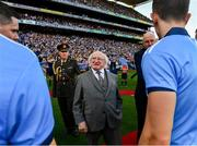 14 September 2019; President Michael D. Higgins is introduced to the Dublin players before the GAA Football All-Ireland Senior Championship Final Replay match between Dublin and Kerry at Croke Park in Dublin. Photo by Ray McManus/Sportsfile
