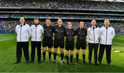 14 September 2019; Referee Conor Lane with his umpires, Raymond Hegarty, Kevin Roche, DJ O'Sullivan and Pat Kelly with his linesmen Maurice Deegan and David Coldrick and the sideline official Niall Cullen before the GAA Football All-Ireland Senior Championship Final Replay match between Dublin and Kerry at Croke Park in Dublin. Photo by Ray McManus/Sportsfile