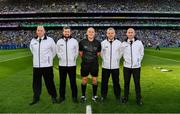14 September 2019; Referee Conor Lane with his umpires, Raymond Hegarty, Kevin Roche, DJ O'Sullivan and Pat Kelly before the GAA Football All-Ireland Senior Championship Final Replay match between Dublin and Kerry at Croke Park in Dublin. Photo by Ray McManus/Sportsfile