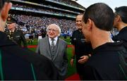 14 September 2019; President Michael D. Higgins is introduced to the match officials by match referee Conor Lane before the GAA Football All-Ireland Senior Championship Final Replay match between Dublin and Kerry at Croke Park in Dublin. Photo by Ray McManus/Sportsfile