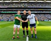 14 September 2019; Referee Conor Lane with the two captains, Paul Murphy of Kerry and Stephen Cluxton of Dublin, before the GAA Football All-Ireland Senior Championship Final Replay match between Dublin and Kerry at Croke Park in Dublin. Photo by Ray McManus/Sportsfile