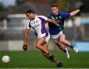 27 September 2019; Craig Dias of Kilmacud Crokes in action against Aaron Lynch of St Sylvester's during the Dublin County Senior Club Football Championship Group 1 match between Kilmacud Crokes and St Sylvester's at Parnell Park in Dublin. Photo by Harry Murphy/Sportsfile