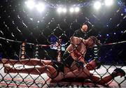 27 September 2019; Ryan Roddy, top, in action against Patrik Pietila during their lightweight bout at Bellator Dublin in the 3Arena, Dublin. Photo by David Fitzgerald/Sportsfile