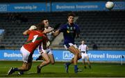 27 September 2019; Ciarán Russell of Kilmacud Crokes shoots to score his side's second goal despite the challenge of Michael Shiel and Karl Archibald of St Sylvester's during the Dublin County Senior Club Football Championship Group 1 match between Kilmacud Crokes and St Sylvester's at Parnell Park in Dublin. Photo by Harry Murphy/Sportsfile