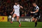 27 September 2019; Billy Burns of Ulster kicks the ball to set up his side's first try during the Guinness PRO14 Round 1 match between Ulster and Ospreys at Kingspan Stadium in Belfast. Photo by Oliver McVeigh/Sportsfile