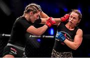 27 September 2019; Leah McCourt, left, in action against Kerry Hughes during their women's featherweight bout at Bellator 227 in the 3Arena, Dublin. Photo by David Fitzgerald/Sportsfile
