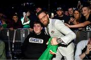 27 September 2019; UFC fighter Conor McGregor with Ian O'Connoll, age 15, from Killarney, Co Kerry at Bellator 227 in the 3Arena, Dublin. Photo by David Fitzgerald/Sportsfile