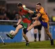 27 September 2019; Dean Rock of Ballymun Kickhams in action against Alisdar Fitzgerald of Na Fianna during the Dublin County Senior Club Football Championship Group 1 match between Na Fianna and Ballymun Kickhams at Parnell Park in Dublin. Photo by Harry Murphy/Sportsfile