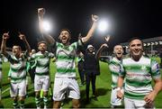 27 September 2019; Shamrock Rovers players, from left, Sean Kavanagh, Greg Bolger, Roberto Lopes, Jack Byrne and Aaron McEneff celebrate following the Extra.ie FAI Cup Semi-Final match between Bohemians and Shamrock Rovers at Dalymount Park in Dublin. Photo by Stephen McCarthy/Sportsfile