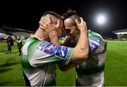 27 September 2019; Jack Byrne, left, and Aaron McEneff of Shamrock Rovers celebrate following the Extra.ie FAI Cup Semi-Final match between Bohemians and Shamrock Rovers at Dalymount Park in Dublin. Photo by Stephen McCarthy/Sportsfile
