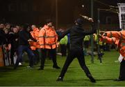 27 September 2019; Supporters clash during the Extra.ie FAI Cup Semi-Final match between Bohemians and Shamrock Rovers at Dalymount Park in Dublin. Photo by Stephen McCarthy/Sportsfile