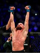 27 September 2019; Peter Queally celebrates after defeating Ryan Scope during their welterweight bout at Bellator Dublin in the 3Arena, Dublin. Photo by David Fitzgerald/Sportsfile