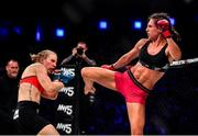 27 September 2019; Camila Rivarola, right, in action against Danni Neilan during their women's strawweight bout at Bellator Dublin in the 3Arena, Dublin. Photo by David Fitzgerald/Sportsfile