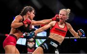 27 September 2019; Camila Rivarola, left, in action against Danni Neilan during their women's strawweight bout at Bellator Dublin in the 3Arena, Dublin. Photo by David Fitzgerald/Sportsfile