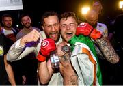 27 September 2019; James Gallagher celebrates with team-mate Conor McGregor after defeating Roman Salazar in their contract weight bout at Bellator Dublin in the 3Arena, Dublin. Photo by David Fitzgerald/Sportsfile