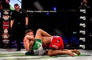 27 September 2019; James Gallagher, left, defeats Roman Salazar via guillotine choke during their contract weight bout at Bellator Dublin in the 3Arena, Dublin. Photo by David Fitzgerald/Sportsfile