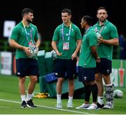 28 September 2019; Ireland players, from left, Robbie Henshaw, Jonathan Sexton, Bundee Aki and Jack Conan prior to the 2019 Rugby World Cup Pool A match between Japan and Ireland at the Shizuoka Stadium Ecopa in Fukuroi, Shizuoka Prefecture, Japan. Photo by Brendan Moran/Sportsfile