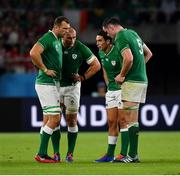 28 September 2019; Ireland players, from left, Tadhg Beirne, Rhys Ruddock, Joey Carbery and James Ryan during the 2019 Rugby World Cup Pool A match between Japan and Ireland at the Shizuoka Stadium Ecopa in Fukuroi, Shizuoka Prefecture, Japan. Photo by Brendan Moran/Sportsfile