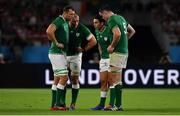 28 September 2019; Joey Carbery of Ireland speaks to team-mates, from left, Tadhg Beirne, Rhys Ruddock and James Ryan during the 2019 Rugby World Cup Pool A match between Japan and Ireland at the Shizuoka Stadium Ecopa in Fukuroi, Shizuoka Prefecture, Japan. Photo by Brendan Moran/Sportsfile