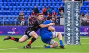 28 September 2019; Jack Dunne of Leinster scores his side's first try despite the efforts of Aneurin Robson of Dragons during The Celtic Cup Round 6 match between Leinster and Dragons at Energia Park in Donnybrook, Dublin. Photo by Piaras Ó Mídheach/Sportsfile