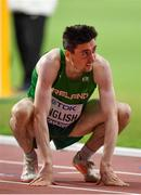 28 September 2019; Mark English of Ireland dejected after finishing 7th in his heat whilst competing in the Men's 800m during day two of the World Athletics Championships 2019 at Khalifa International Stadium in Doha, Qatar. Photo by Sam Barnes/Sportsfile