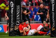 28 September 2019; Tyler Bleyendaal of Munster goes over to score his side's fourth try during the Guinness PRO14 Round 1 match between Munster and Dragons at Thomond Park in Limerick. Photo by Harry Murphy/Sportsfile