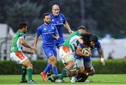 28 September 2019; Joe Tomane of Leinster is tackled by Eli Snyman of Benetton during the Guinness PRO14 Round 1 match between Benetton and Leinster at Stadio Monigo in Treviso, Italy. Photo by Ramsey Cardy/Sportsfile