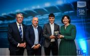 28 September 2019; Pictured is the Electric Ireland Minor Hurling Star winner Christy Brennan of Galway at the 2019 Electric Ireland Minor Star Awards alongside, from left, Munster Council chairman Liam Lenihan, Derek McGrath and Executive Director of ESB Marguerite Sayers. The Hurling Team of the Year was selected by an expert panel of GAA legends including Alan Kerins, Derek McGrath, Karl Lacey and Tomás Quinn. The Electric Ireland GAA Minor Star Awards create a major moment for Minor players, showcasing the outstanding achievements of individual performers throughout the Championship season. The awards also recognise the effort of those who support them day in and day out, from their coaches to parents, clubs and communities. #GAAThisIsMajor Photo by David Fitzgerald/Sportsfile