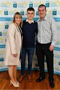 28 September 2019; Aaron Browne of Celbridge and Kildare, with family members Kathryn Donnelley and Paul Browne on their arrival at the 2019 Electric Ireland Minor Star Awards. The Hurling and Football Team of the Year was selected by an expert panel of GAA legends including Alan Kerins, Derek McGrath, Karl Lacey and Tomás Quinn. The Electric Ireland GAA Minor Star Awards create a major moment for Minor players, showcasing the outstanding achievements of individual performers throughout the Championship season. The awards also recognise the effort of those who support them day in and day out, from their coaches to parents, clubs and communities. #GAAThisIsMajor  Photo by Seb Daly/Sportsfile