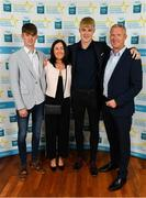 28 September 2019; James McLaughlin of Moycullen and Galway, with family members John, Teresa and John McLaughlin on their arrival at the 2019 Electric Ireland Minor Star Awards. The Hurling and Football Team of the Year was selected by an expert panel of GAA legends including Alan Kerins, Derek McGrath, Karl Lacey and Tomás Quinn. The Electric Ireland GAA Minor Star Awards create a major moment for Minor players, showcasing the outstanding achievements of individual performers throughout the Championship season. The awards also recognise the effort of those who support them day in and day out, from their coaches to parents, clubs and communities. #GAAThisIsMajor  Photo by Seb Daly/Sportsfile
