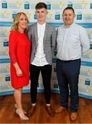 28 September 2019; Conor Corbett of Clyda Rovers and Cork, with family members Maria and Michael on their arrival at the 2019 Electric Ireland Minor Star Awards. The Hurling and Football Team of the Year was selected by an expert panel of GAA legends including Alan Kerins, Derek McGrath, Karl Lacey and Tomás Quinn. The Electric Ireland GAA Minor Star Awards create a major moment for Minor players, showcasing the outstanding achievements of individual performers throughout the Championship season. The awards also recognise the effort of those who support them day in and day out, from their coaches to parents, clubs and communities. #GAAThisIsMajor  Photo by Seb Daly/Sportsfile
