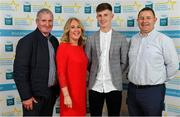 28 September 2019; Conor Corbett of Clyda Rovers and Cork, with family members, Jerramiah, Maria and Michael on their arrival at the 2019 Electric Ireland Minor Star Awards. The Hurling and Football Team of the Year was selected by an expert panel of GAA legends including Alan Kerins, Derek McGrath, Karl Lacey and Tomás Quinn. The Electric Ireland GAA Minor Star Awards create a major moment for Minor players, showcasing the outstanding achievements of individual performers throughout the Championship season. The awards also recognise the effort of those who support them day in and day out, from their coaches to parents, clubs and communities. #GAAThisIsMajor  Photo by Seb Daly/Sportsfile