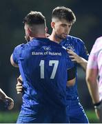 28 September 2019; Leinster debutants Harry Byrne, right, and Michael Milne following the Guinness PRO14 Round 1 match between Benetton and Leinster at Stadio Monigo in Treviso, Italy. Photo by Ramsey Cardy/Sportsfile