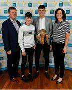 28 September 2019; Eoin Lawless of St. Mary's, Athenry and Galway, with family members Andrew, Conor and Ann Lawless, on their arrival at the 2019 Electric Ireland Minor Star Awards. The Hurling and Football Team of the Year was selected by an expert panel of GAA legends including Alan Kerins, Derek McGrath, Karl Lacey and Tomás Quinn. The Electric Ireland GAA Minor Star Awards create a major moment for Minor players, showcasing the outstanding achievements of individual performers throughout the Championship season. The awards also recognise the effort of those who support them day in and day out, from their coaches to parents, clubs and communities. #GAAThisIsMajor  Photo by Seb Daly/Sportsfile