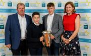28 September 2019; Ian McGlynn of Kilconieron and Galway, with family members John, Eamonn and Ann McGlynn, on their arrival at the 2019 Electric Ireland Minor Star Awards. The Hurling and Football Team of the Year was selected by an expert panel of GAA legends including Alan Kerins, Derek McGrath, Karl Lacey and Tomás Quinn. The Electric Ireland GAA Minor Star Awards create a major moment for Minor players, showcasing the outstanding achievements of individual performers throughout the Championship season. The awards also recognise the effort of those who support them day in and day out, from their coaches to parents, clubs and communities. #GAAThisIsMajor  Photo by Seb Daly/Sportsfile