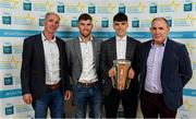 28 September 2019; Christy Brennan of Clarinbridge and Galway, with family members John, Philip and Pat Brennan, on their arrival at the 2019 Electric Ireland Minor Star Awards. The Hurling and Football Team of the Year was selected by an expert panel of GAA legends including Alan Kerins, Derek McGrath, Karl Lacey and Tomás Quinn. The Electric Ireland GAA Minor Star Awards create a major moment for Minor players, showcasing the outstanding achievements of individual performers throughout the Championship season. The awards also recognise the effort of those who support them day in and day out, from their coaches to parents, clubs and communities. #GAAThisIsMajor  Photo by Seb Daly/Sportsfile